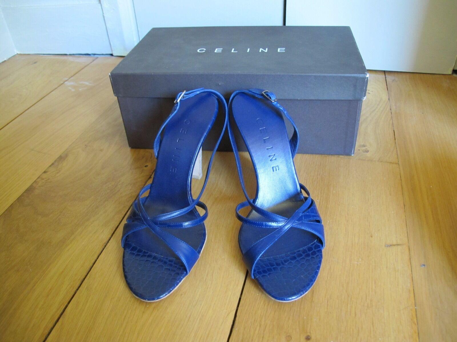 Sandales azules indigo CELINE 37C neuves neuves neuves  selección larga