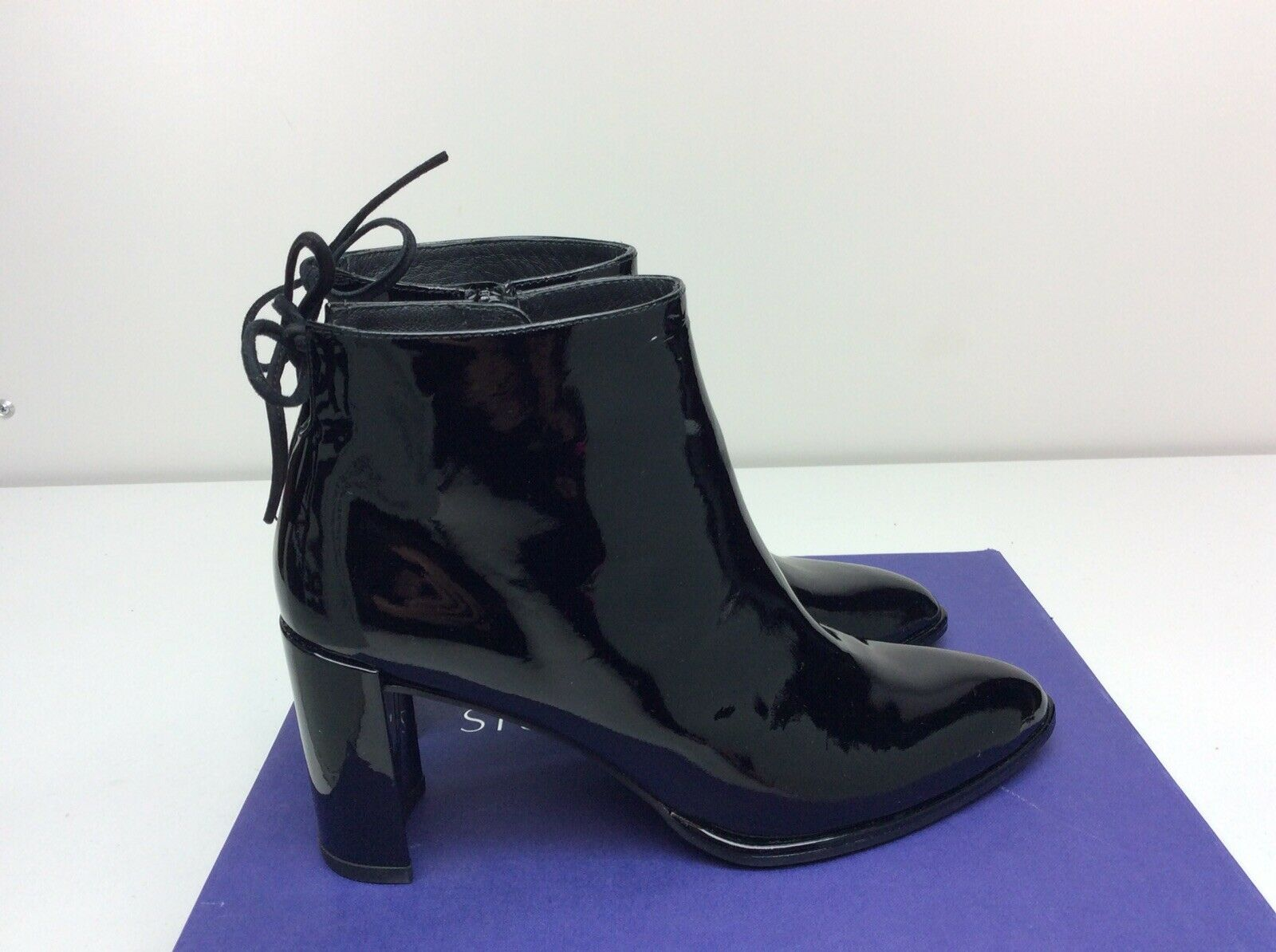 Stuart Weitzman Lofty Black Patent Leather Ankle Booties Boots Women's 7.5 M