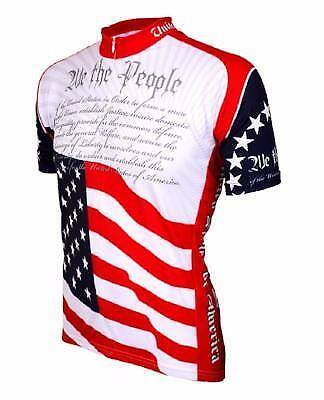 World Jerseys Us Constitution Mens Cycling Jersey White//Red Medium Bike