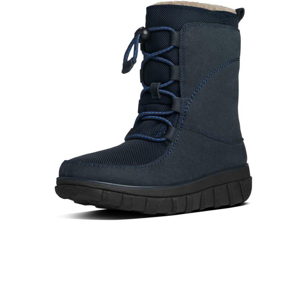 NEU Fitflop Sporty Lace Up Mukluk Boot, Supernavy Leder, Damens Größe 5, 170