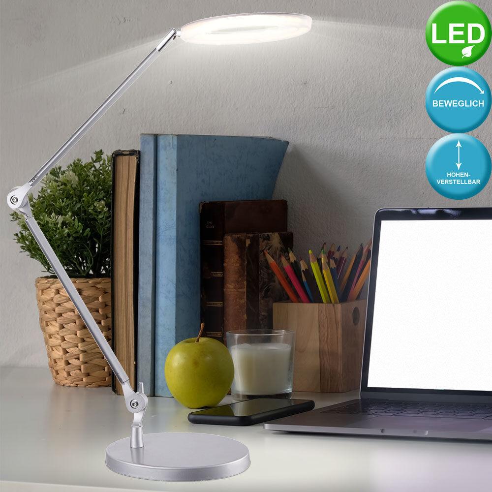 Lampe de table DEL luminaire bureau Silber satiné lecture interrupteur éclairage
