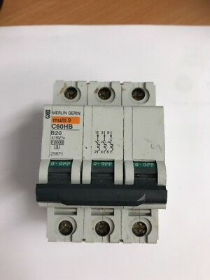 MERLIN GERIN MULTI 9 C60HB 20 AMP TYPE B20 TRIPLE POLE MCB  BREAKER  25871