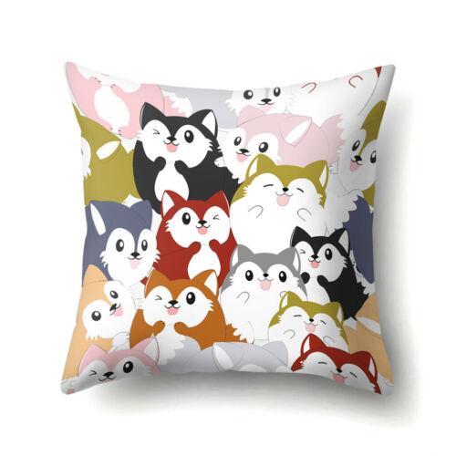 45x45cm Colorful Flowers Birds Print Pillow Case Cushion Cover Home Office Decor