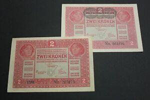 Uncirculated 50 Banknotes Austria 2 Kronen  1919  AU  P