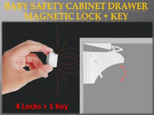 Cupboard/Cabinet/Drawer Home Magnetic Safety Lock Pack of 4 Locks + 1 Key