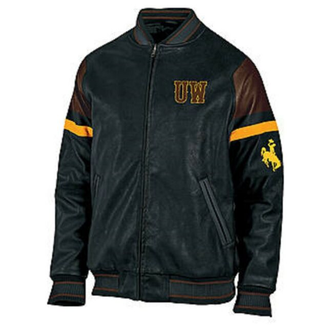 NCAA Wyoming Cowboys Big &Tall 3XL Heavy Pleather Lined Winter Bomber Jacket NEW