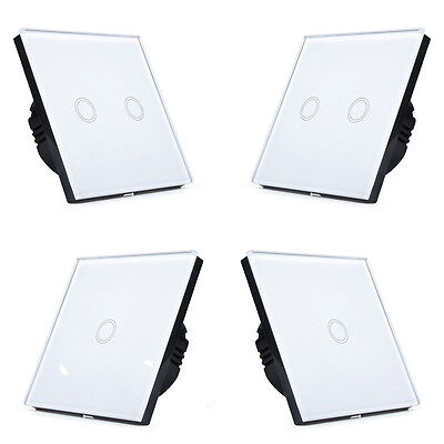 LUXURY WHITE 3 2 1 GANG 1 WAY LED TOUCH WALL SWITCH GLASS PANEL DIMMER OPTION