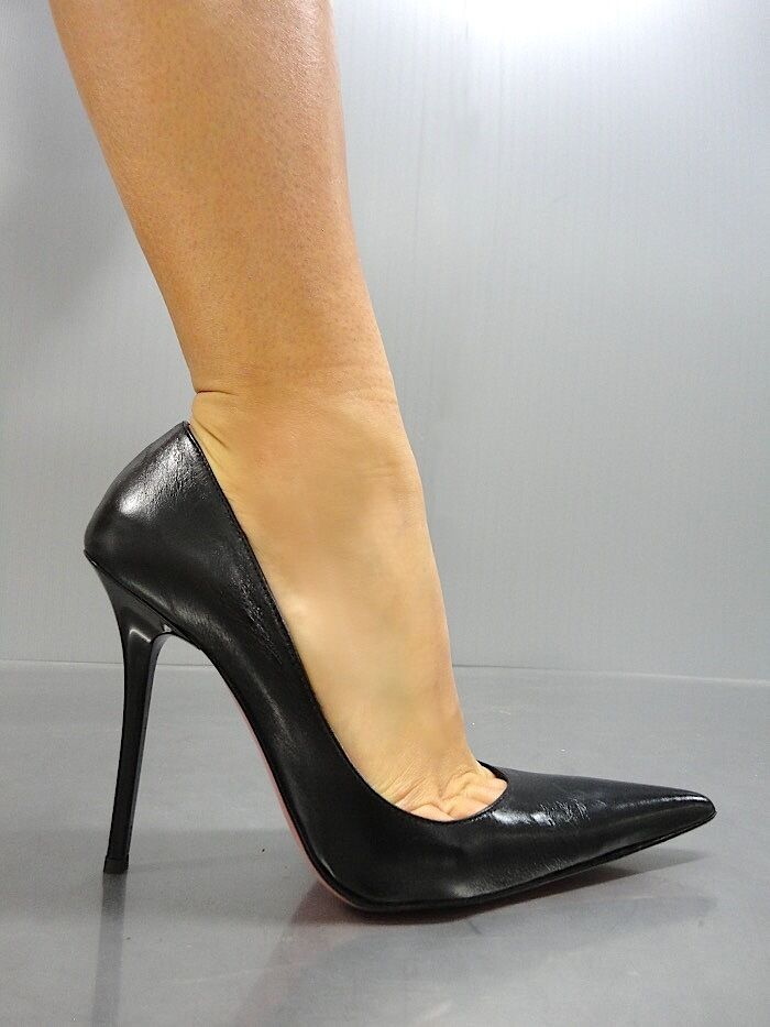 MORI MADE IN ITALY SEXY POINTY NEW HIGH HEELS PUMPS SCHUHE LEATHER schwarz schwarz 39  | Kompletter Spezifikationsbereich