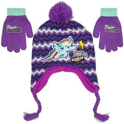 MY LITTLE PONY Peruvian Knit Winter Hat /& Gloves Set w// Pom-Pom /& Braids NWT $22