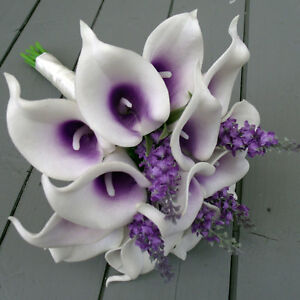 Artificial Calla Lily And Lavender Purple Bridal Wedding Flower