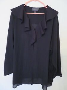 Women S Lane Bryant Open Front Cover Up Shirt Sheer Black Blouse
