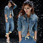 Fashion Women Punk Slim Denim Jackets Girl Outwear Lady Jeans Coat Jacket Hot
