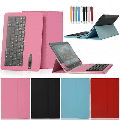 "For Various 7"" 9.7"" 10"" Removable  Wireless Bluetooth Keyboard W/ PU Case Cover"