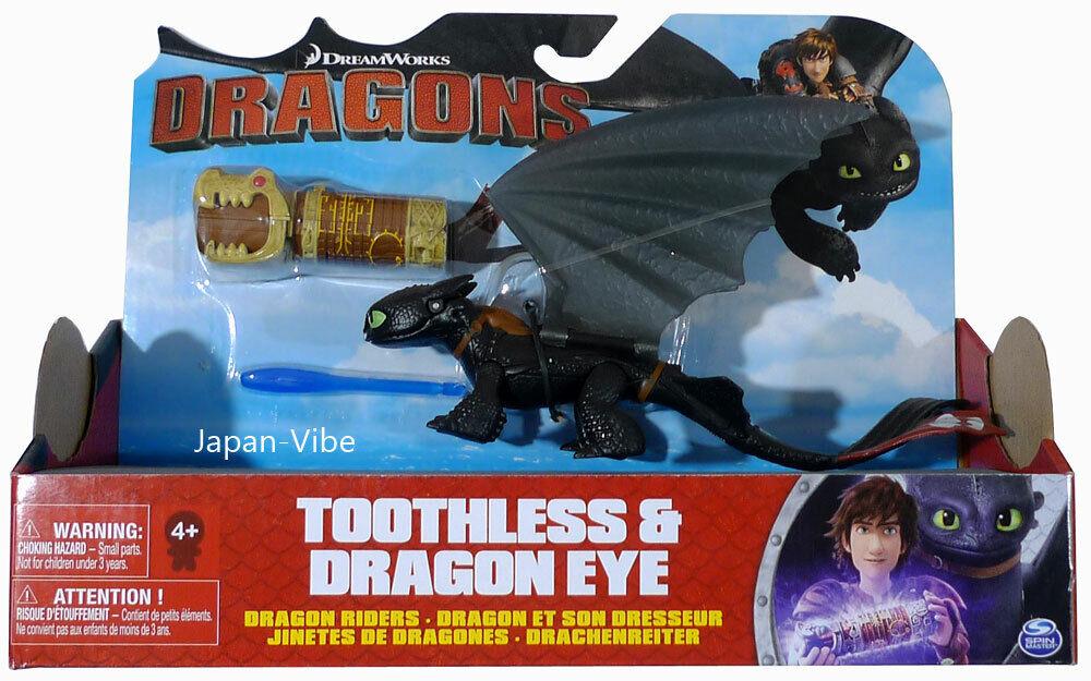 Los dragones-Dragón Dragón Ojo Dreamworks sin dientes & jinete Spin Master Figura Rara
