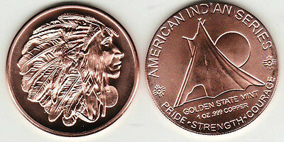 RED HORSE 1 OZ COPPER ROUND AMERICAN INDIAN SERIES