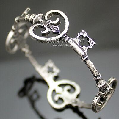 Victorian Vintage Skeleton Key Heart Cross Bridal Bracelet Bangle Cuff Steampunk