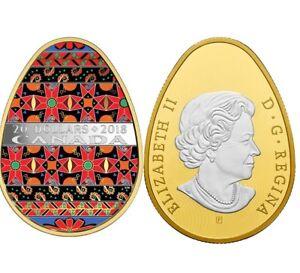 2018–Traditional Ukrainian Pysanka–Golden Spring–$20 Pure Silver Egg Shaped Coin