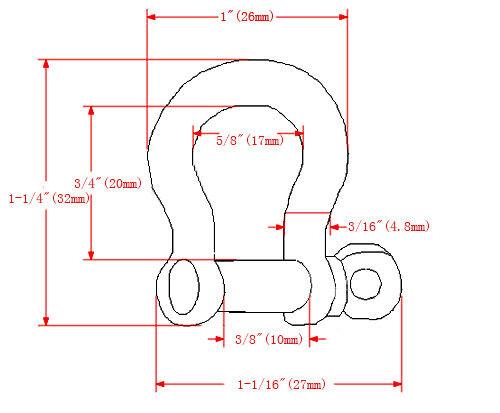 Shackle Screw Pin Zinc Alloy D Bow Paracord Bracelet Anchor Parachute 550 Cord