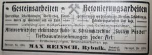 Max-Reinsch-Rybnik-Abteufen-Tunnelbau-Grubenbau-Werbeanzeige-anno-1908-Reklame