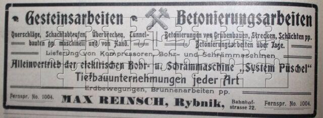 Max Reinsch Rybnik Abteufen Tunnelbau Grubenbau Werbeanzeige anno 1908 Reklame