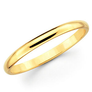 10K Solid Yellow Gold 2mm Plain Mens And Womens Wedding Band Ring