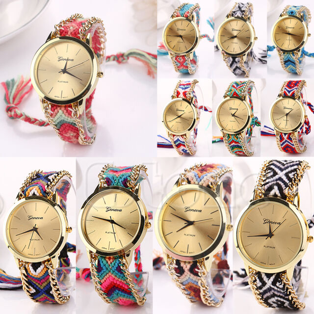 Fashion Women New Geneva Ethnic Braided Analog Quartz Chain Bracelet Wrist Watch