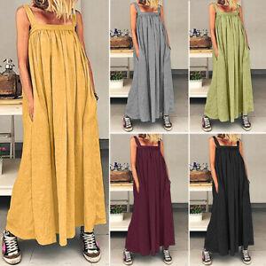 ZANZEA-Women-Casual-Summer-Beach-Long-Maxi-Dress-Off-Shoulder-Sundress-Plus-Size