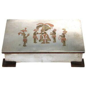 Silver-Copper-and-Brass-Handmade-Cigar-Box-Cigarette-Case-Taxco-Mexico-1950s