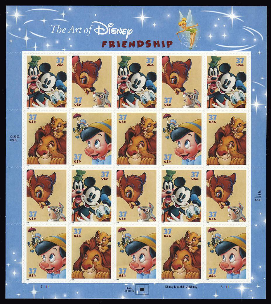 2004 37c The Art of Disney, Friendship, Sheet of 20 Sco
