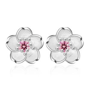 925-Silver-Crystal-Cherry-Blossoms-Flower-Ear-Stud-Earrings-For-Women-Girl-039-s