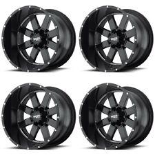 Set 4 20x9 Moto Metal Mo962 Black Milled Truck Wheels 8x65 0mm 8 Lug With Lugs Fits Ram