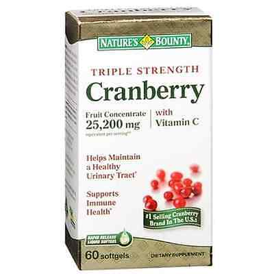 Nature's Bounty Cranberry Softgels Triple Strength 60 Soft Gels