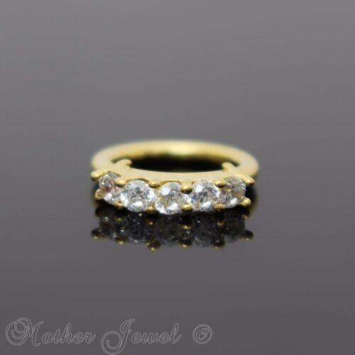 18G 14K YELLOW GOLD IP 5 SIMULATED DIAMONDS ANNEALED BENDABLE HOOP EAR NOSE RING