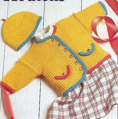 "Baby Girls Knitting Jacket and Hat Knitting Pattern 16-22"" Double Knitting   246"