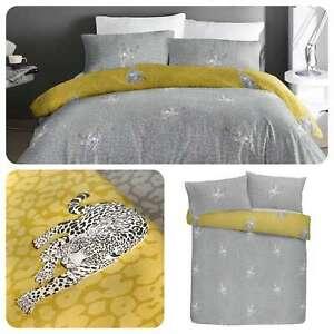 Fusion-DESERT-LEOPARD-Grey-amp-Yellow-Reversible-Easy-Care-Duvet-Cover-Set