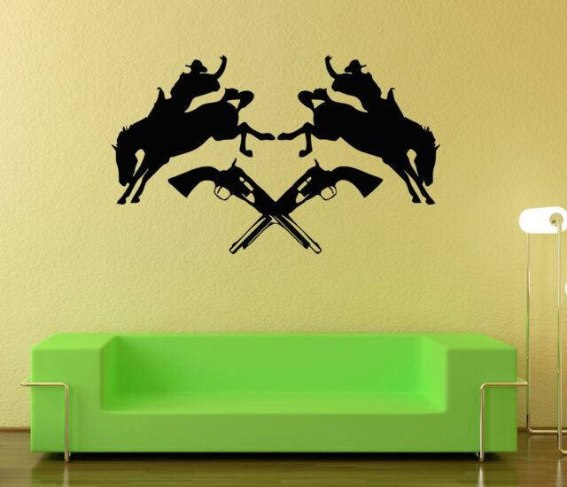 Wall Stickers Vinyl Decal Texas Cowboy Rodeo Horse Revolver Silhouette Ig305 For Sale Online