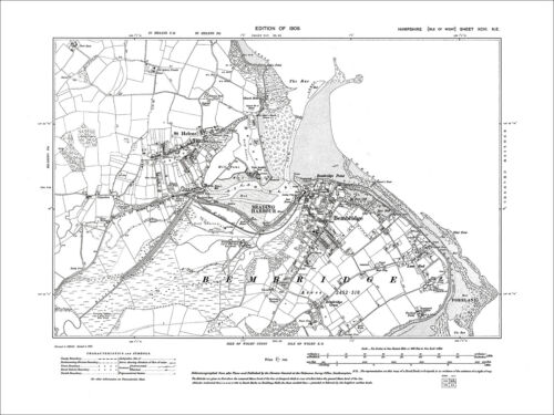 Isle Of Wight 1909: 96NE Brading Harbour Bembridge Old Map Hamp St Helens