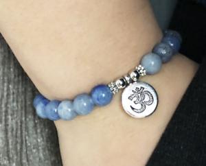 8mm-blue-jade-bracelet-Moench-7-5-cm-Unisex-Sutra-Manschette-Handmade-Reiki