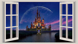 Huge 3d Window Wall Art Sticker Disney Castle Decal Vinyl