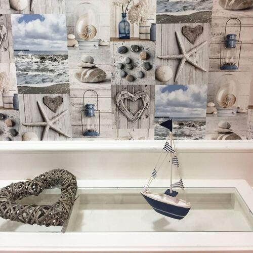 Maritime Collage Papier Peint Plage Galets Cœurs Arthouse 699000 Bleu//Gris