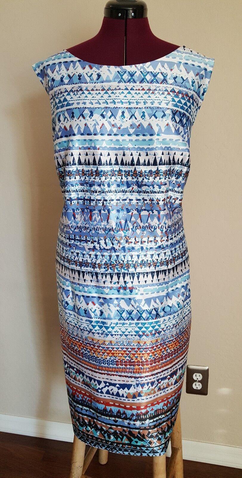 Leslie Fay damen dress. Gorgeous and classy Farbeful Blau spice SZ 24W NWT
