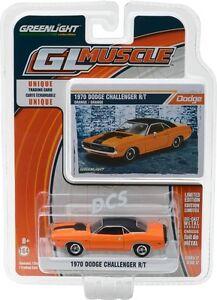 GREENLIGHT-MUSCLE-1970-Dodge-Challenger-R-T-Orange-w-Stripe-1-64-DIECAST-13170E
