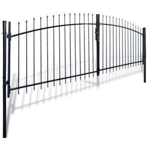 Details about vidaXL Double Door Fence Gate w/ Spear Top 13'x6' Garden  Outdoor Entry Barrier