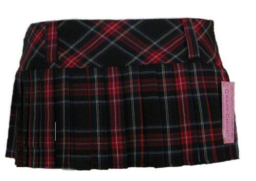 "12/"" Pleated Tartan Mini Skirt Good Quality Full Pleat Kilt Colours Sizes 8-16"