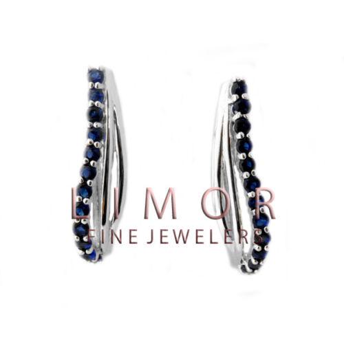 1CT Women/'s Stunning Blue Sapphire 925 Silver Hoop Earrings 25x12mm