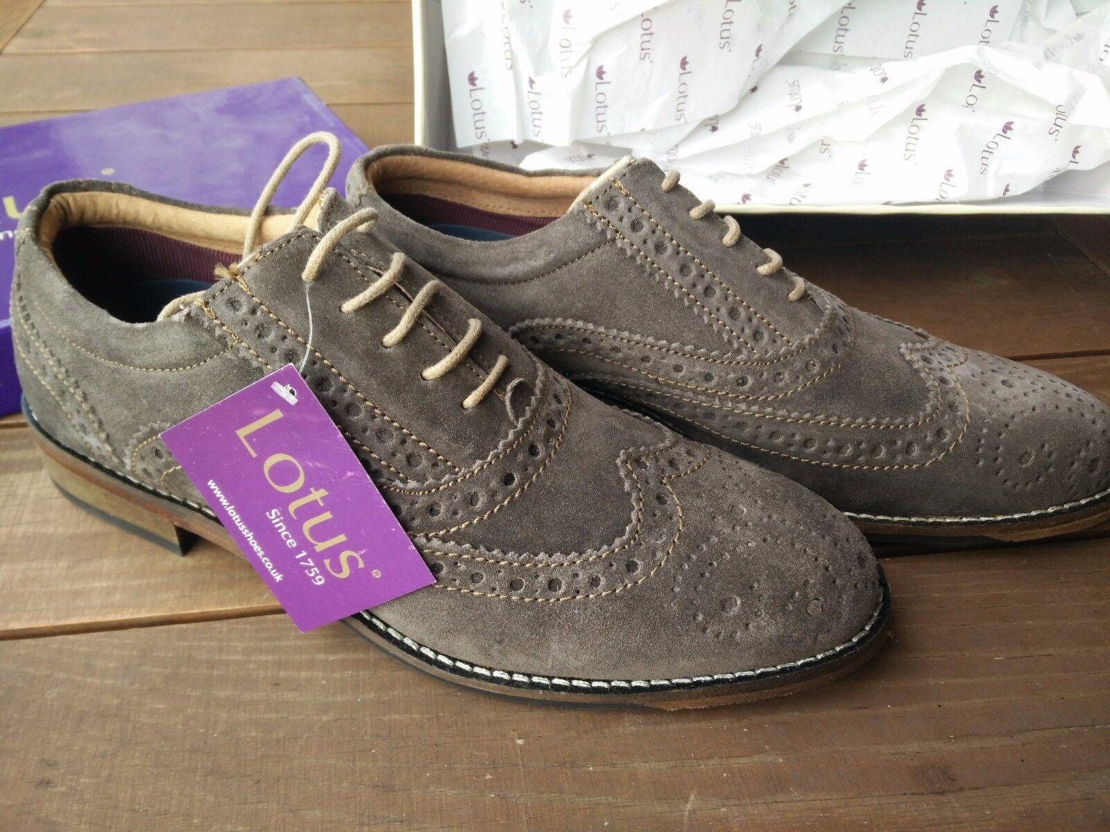 Lotus zapatos 1759 marrón de gamuza zapatos de piel brogue Oxford