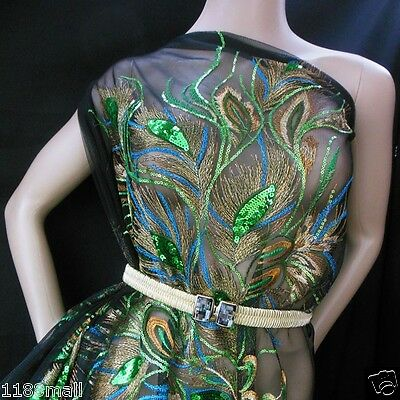Gorgeous Peacock Feather Eye motif Sequin Fabric (Black) BB 517 per Pattern