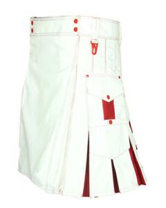 Brand New Fashion Blanc & Rouge Utility Kilt Pour Les Hommes Avec 1 Kilt Pin Et Chaussettes Gratuite-afficher Le Titre D'origine
