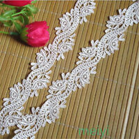 2 yards Vintage White Embroidered Lace Trim Wedding Ribbon Applique Sewing Craft