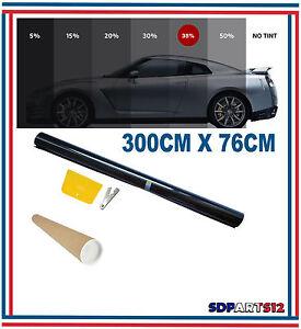 Film-Solaire-De-Qualite-3m-x-76cm-Teinte-35-VLT-Noir-Auto-Batiment